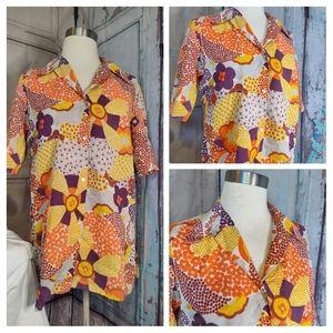 VINTAGE Carole Jue 70's Floral Shirt